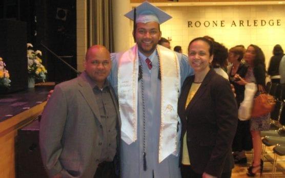 CSF Alumnus Jason Tejada with his parents at his graduation from Columbia University.